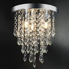 3 Lights Mini Crystal Flushmount Chandelier Fixture,Hongin Crystal Ceiling Lamp H104