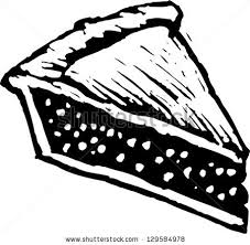Black and white vector illustration of a slice of pie