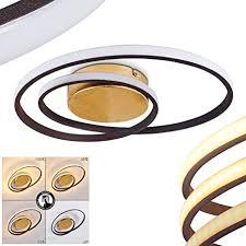 led deckenleuchte leksund moderne deckenle aus metall in gold m 2 ringen 22 watt 2200 lumen 3000 kelvin dimmbar über lichtschalter
