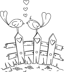 Love Birds Standing At Fence Of Coloring Pages