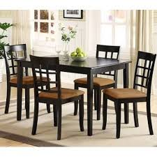 lexington 5 piece dining table set with window back chairs black