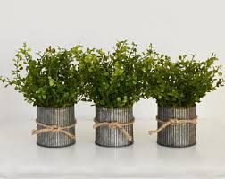 Three Pots Of Faux Boxwood In Galvanized Spring Centerpiece Rustic Tins