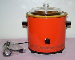 Rival Vintage 2 5 Qt Burnt Orange Red Crockpot 1970s Retro Slow Cooker