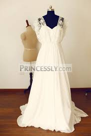 boho beach short sleeves ivory lace chiffon long wedding dress
