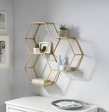 leonique wandregal lenia dekoregal wanddeko aus metall bestehend aus drei sechseckigen elementen kaufen otto