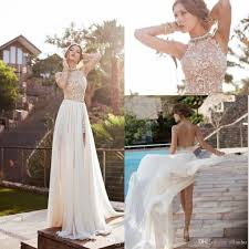 Discount 2017 In Stock Julie Vino Summer Beach Wedding Dresses Vintage A Line Halter Backless Lace High Split Cheap Bridal Gowns Maid Of