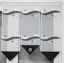 scheibengardine 3tlg schwarz weiß grau mit ösen ebay