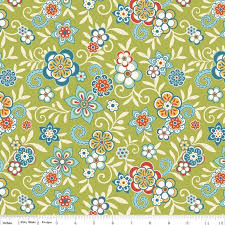 Green Blue And Red Floral Fabric Serenata By Samantha Walker For Riley Blake Print In 1 Yard