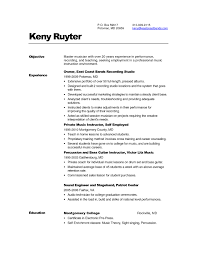 Resume Objective Examples Music Industry At Sample Ideas