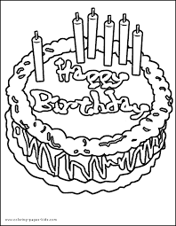 Birthday Cake With Candles Color Page Holiday Coloring Pages Plate