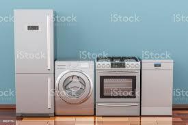 waschmaschine gasherd kühlschrank und spülmaschine im zimmer auf dem holzboden 3d rendering stockfoto und mehr bilder ausrüstung und geräte