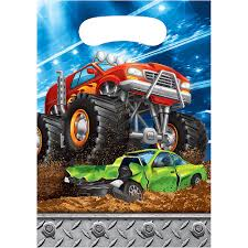 100 Monster Truck Decorations Favor Bags 8ct