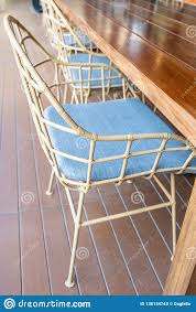 Metal Chair On Wood Terrace Stock Image - Image Of Fabric ...