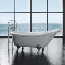 Home Depot Bathtub Paint by All In One 5 5 Ft Acrylic Chrome Clawfoot Slipper Tub In White