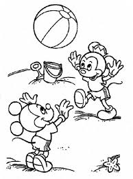 Mickey And Minnie Mouse Junior Playing Ball Coloring Pages