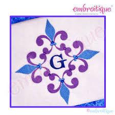 Embroitique Fleur De Lis Framed Monogram 6 7 8 Inch