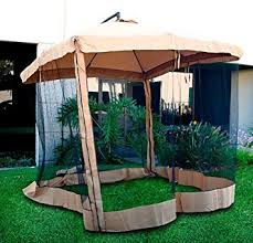 Offset Patio Umbrella W Mosquito Netting by Amazon Com Offset Umbrella Mesh Tan Garden U0026 Outdoor