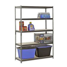 Edsal Metal Storage Cabinets by Muscle Rack 5 Shelf Steel Shelving Silver Vein 18
