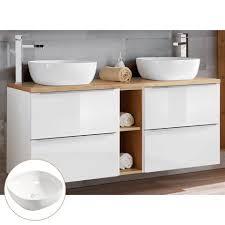 lomadox doppelwaschtisch toskana 56 doppelwaschtisch unterschrank 140cm mit 2 keramikbecken in hochglanz weiß mit wotaneiche b h t ca