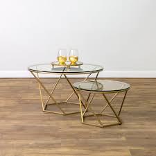Walker Edison 3 Piece Contemporary Desk by Walker Edison Furniture Company Geometric Glass Nesting Gold
