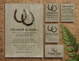Vintage Horseshoes Wedding Invitation Suite