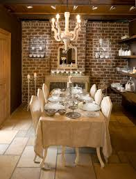 Gorgeous Dining Room With Tiled Flooring And Brick Walls Brings Classic Charm To Contemporary Setting