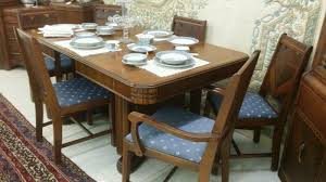 1940's Vintage Waterfall Style Dining Room Suite, Table W ...