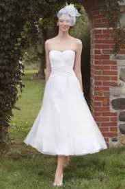 Strapless Casual White Tea Length A Line Rustic Wedding Dress