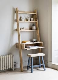 Leaning Wall Desk With Shelves And Bookcase Set Ladder Shelf