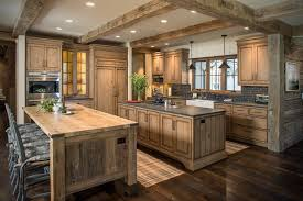 Dark Rustic Hickory Cabinets With Wood Floors