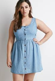 forever 21 plus size buttoned chambray babydoll dress in blue lyst