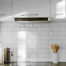 bevelled brick white gloss wall tiles retro metro tiles