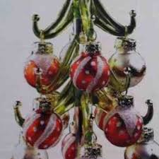 Red Green Glass Holiday Tree Removeable Ornaments