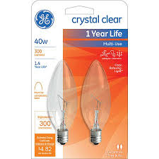 ge 40 watt clear blunt tip incandescent decorative bulb 2 pack