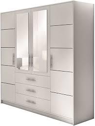 mirjan24 drehtürenschrank bado 4d kleiderschrank mit spiegel schubladen und spiegeltüren elegantes schlafzimmer schrank jugendzimmer weiß