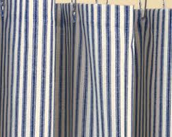 Blue Vertical Striped Curtains by Ticking Stripe Shower Curtain Black Brown Grey Navy Blue