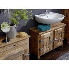 sit waschbeckenunterschrank frigo mangoholz im antik look mit kühlschrankgriffen breite 88 cm shabby chic vintage