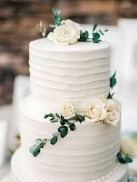 Simple Organic White And Green Wedding Cake
