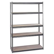 tall metal bookshelf with five rectangle grey wooden board shelves