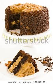 German chocolate cake with two layers of chocolate cake filled and topped with classic German chocolate