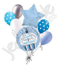 7 pc 1st Cupcake Happy Birthday Balloon Bouquet Party Decoration Baby e Boy