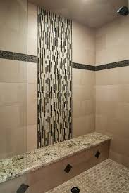lovely shower area idea with sweet mosaic tiles accent glass