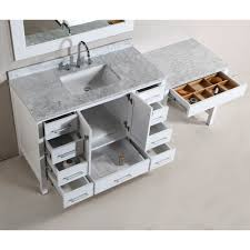 Single Sink Vanity With Makeup Table by Design Element Dec082c W Mut W London Modular Combo White Single