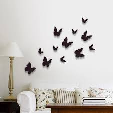 Wall Stickers Black 3D Butterfly Wall Art Murals Removable Self