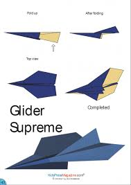 Paper Airplane Instructions Glider Supreme Printable Origami Easy