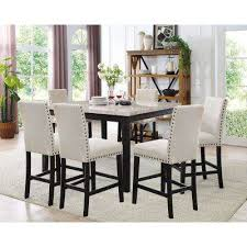 Azul 7 Piece Espresso And Ivory Dining Set Marble Table 6 Fabric Chairs