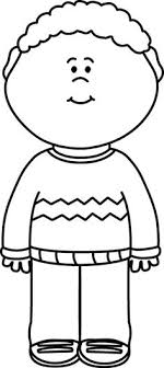 Black and White Kid Wearing a Sweater Clip Art Black and White Kid Wearing a