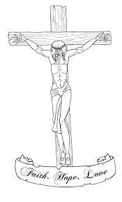 Draw Beautiful Outline Faith Hope Love Jesus Tattoo