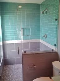 light blue tiles bathroom brown wooden sink cabinet with white