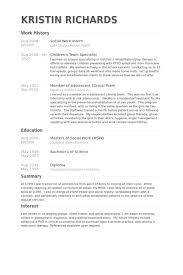 Social Work Intern Resume Samples Experience